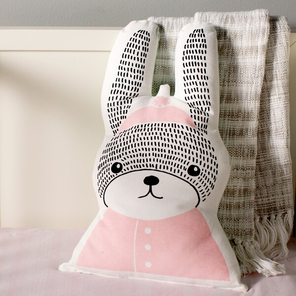 Carson Rabbit Shaped 100% Cotton Throw Pillow By Viv + Rae.